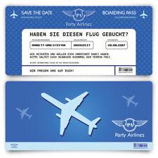 Save the Date Karten zur Hochzeit - Flugticket Motiv in Blau