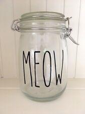 Rae Dunn Stile Skinny Carattere Adesivo decalcomania in vinile Meow-fai da te gatto DOLCETTI Jar Label