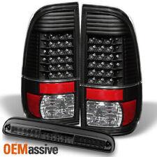 For 08-16 Ford F250/350/450/550 Black LED Tail Lights+Smoked LED 3RD Brake Light