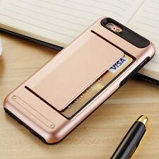 ROSE GOLD CLIP Case iPhone 5 6 7 Samsung Credit Card Slide Wallet ID + GLASS