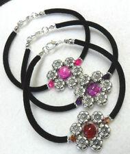 "7.5"" Tibetan silver flower bracelet - choose colour"