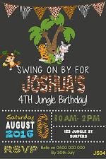 ZOO ANIMAL First Birthday Invitation Jungle Safari Lion Giraffe Party Invite