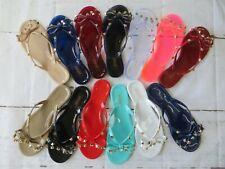 New Women BARCELONA Jelly Sandals Flip Flop Flats Slip On