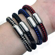 8MM Men's Genuine Leather & Nylon Braided Stainless Steel Magnetic Lock Bracelet
