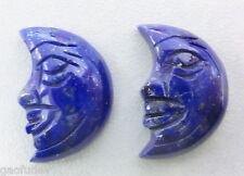 Lapis Lazuli Stone Cameo Carving Moon Face convex shape 2 pieces Lot