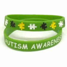 X2 Green 'AUTISM AWARENESS' Medical Wristbands Alert Silicone Wristband UK