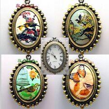 ANTICO VINTAGE MINIATURA ARTE Birdwatching a Collana con ciondolo orologio