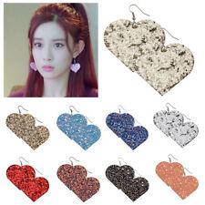Women Earrings Heart Leather Sequin Glitter Valentine's Eardrop Jewelry Party
