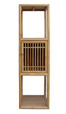 Chinese Raw Wood Slim Narrow Tall Open Display Storage Corner Cabinet cs2250