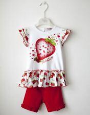 Le Ragazze Cotone Camicia bianca e pantaloni Rosso fissato dal Designer Italiano Rubacuori