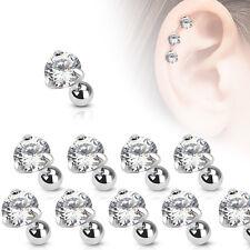 Tragus Cartilage Studs Bars Nose Stud Ear Bar Prong Set Crystal Gems 3mm 4mm 5mm