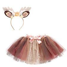 Kids Girls Fawn Deer Animal Vixen Tutu Skirt Fancy Dress Up Accessory Childs