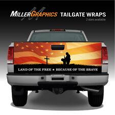 Fallen Warrior Sunset American Flag Truck Tailgate Vinyl Graphic Decal Wraps