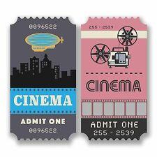 2 x 10cm Retro Cinema Ticket Vinyl Stickers Decals Laptop Movie Lover Fun #9809