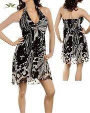 WOMENS DRESS shimmer chiffon zebra stripe Roses babydoll halter LOVELY S M L jrs