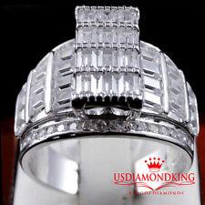 WOMENS LADIES PRINCESS CUT SILVER CINDERELLA ENGAGEMENT BRIDAL WEDDING RING BAND