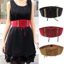 Womens Elastic Stretch Bounce Tassels Corset Waist Belt XS S M (Black/Red/Brown)