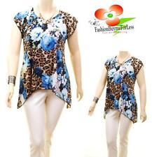 Women PLUS Faux Silk Knit Jersey Asymmetric Flora Leopard Tunic Blouse Shirt Top