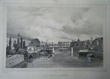 LITHOGRAPHIE 19ème  VUE PRISE DU PONT ROYAL  PARIS