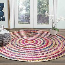 Rug Natural Jute Cotton Round Area Rug Hardwood Floors Woven Fabric Reversible