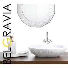 Marble Stone Sink Bathroom Countertop Vessel Vanity Wash Basin Oval Sink White