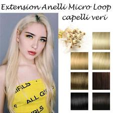 MICRORING Micro Loop 50 CIOCCHE EXTENSION capelli VERI 0,8 gr 46 cm Remy Hair AA