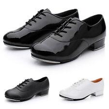 New Men Tap Dance Shoes Faux Leather Anti-Slip Soles Durable Stage Dancing Shoes
