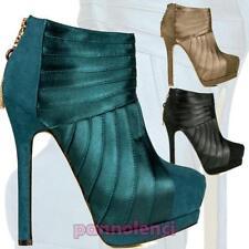 Bottines chaussures pour femmes à gros talon satin en daim hauts bottes AA-112