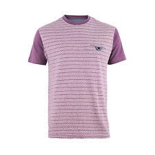Mens Ex High St Burgundy Fairisle Striped Crew Neck Short Sleeve T Shirt RRP £16