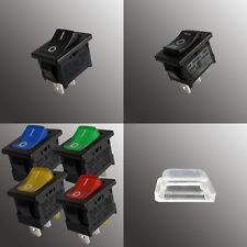 Wippschalter 13x19 eckig beleuchtet schwarz rot LED I/0 und I/0/II 230V oder 12V