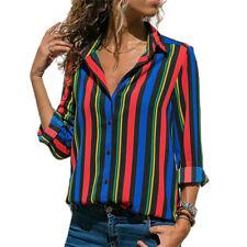 Women Ladies Stripe Long Sleeve Shirts Tops Ladies Loose V Neck Blouse Plus Size