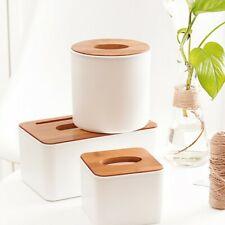Tissue Box Dispenser Cover Paper Wooden Storage Holder Napkin Case Organizer New
