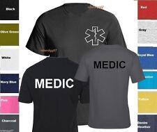 MEDIC T-Shirt Emergency Medical Services Service Shirt -TWO SIDES PRINT SZ S-5XL