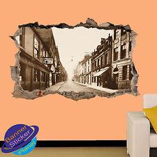 Vintage Leeds Viejo Pub Street 3D se estrelló Pared Adhesivo Calcomanía Mural Decoración De Habitación