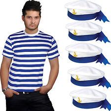 ADULT FANCY DRESS MEN'S SEXY BLUE & WHITE STRIPE T-SHIRT SAILOR HAT