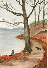 5x7 PRINT OF PAINTING RYTA LANDSCAPE RAVEN CROW HALLOWEEN GOTHIC ALLEY LAKE FOLK