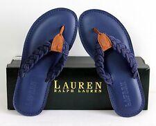 LAUREN Ralph Lauren Edythe Sandals Fashion Thong Beach Flip Flops Leather