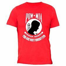 POW MIA Flag Not Forgotten T-Shirt Memorial Military Army USA Tshirt Red