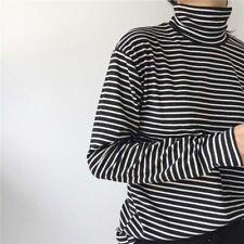 Women Casual Striped Slim Long Sleeves Tee Tops Turtleneck T-shirt Blouses M-2XL