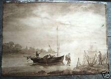 old master seascape watercolor art Jan Van Goyen 1653