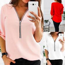 Women Loose Chiffon Tops Long Sleeve Sexy Zip V Neck T Shirt Casual Blouse Shirt