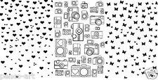 Impressions personnelles fond clair timbres coeur caméra Snap Papillon Cœur