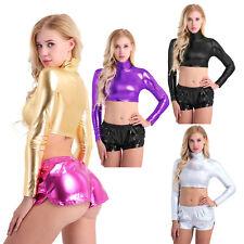 Sexy Women Shiny Metallic Crop Top Wet Look Mock Neck Long Sleeve Tank Top Shirt