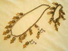 True Vintage Brass Parure Set Dangling Leaves & Balls Bracelet Necklace Earrings