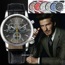 Elegant Men's New Luxury Classic Sports Wrist Watch Analog Leather Strap Quartz