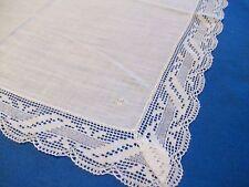 Superbe mouchoir pochette, ancien, fin coton, monogramme CM, dentelle, 38x38 cm