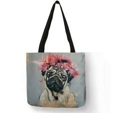 Painting Cute Pug Dog Printing Reusable Shopping Bags Linen Tote Bag Handbag