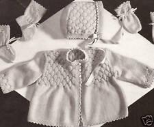 Vintage Knitting PATTERN to make Baby Smocking Set Sweater Hat Bootie KnittedSmo
