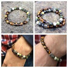 Tigers eye green Connemara marble mens bracelet. Irish jewelry gemstone. Celtic