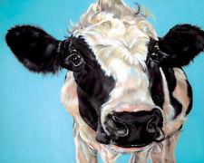 MUCCA Pazza-razza Holstein Friesian CANVAS Wall Art POSTER stampa animale da azienda Barn bovini
